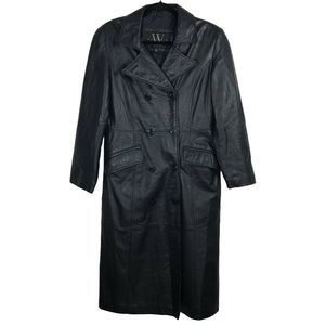 Vintage Winlit M Black Leather Trench Coat